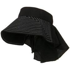 Taslon UV Sun Protection Wide Brim Packable Visor With Flap BLACK