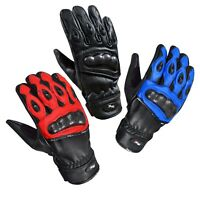 Premium Leather  Summer Motorcycle Motorbike Gloves CowHide RED / BLUE / BLACK
