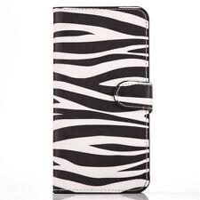 Zebra Skin Pattern Magnetic Flip Card Pockets PU Leather Hard Phone Case Wallet