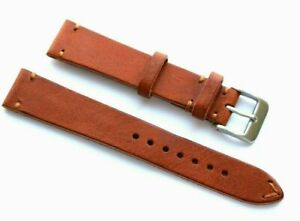 18mm Classic Style Light Brown Genuine Leather Watch Band Handmade Silver Buckle