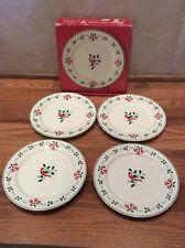 "NIKKO Bells and Holly Set of 4 Salad Dessert  Plate 7 1/2"" Christmas"