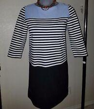 Ann Taylor LOFT 390173 Mixed Blue / Black Stripes Tunic Dress Long Sleeve L $80