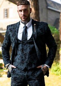 Men's Cavani Velvet Embossed Floral Black 3 Piece Suit Formal Wedding Slim Fit