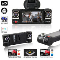 "Dash Cam 2.7"" TFT LCD Dual Camera Rotated Lens Car DVR w/ IR Night Assist - NEW"