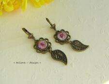 Ohrringe Bronze Cabochon Blatt romantisch   handgemacht