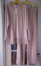 EILEEN FISHER L 14 16 Pajamas Organic Cotton Silk Trim Top Rose Pink  $138 NWT