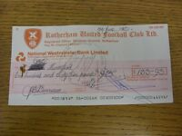 17/06/1983 Rotherham United: Official Club Cheque - payable to Ray Mountford. Fo