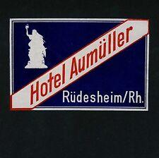 Hotel Aumüller RÜDESHEIM Germany / Germania * Old Luggage Label Kofferaufkleber