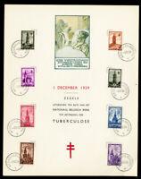 Belgium Sheet-let Rare 1939 FD w/8x Stamps Tuberculosis