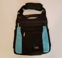 Nintendo Wii Black And Blue Carrying Case Travel Bag W/ Multiple Pockets & Strap