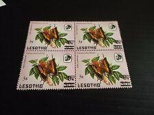 LESOTHO 1986 SG 734 SURCH BUTTERFLIES A BLOCK OF FOUR MNH