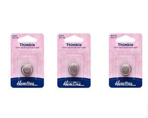 Hemline Metal Sewing Thimble - General Purpose - Large Medium or Small