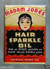 "Vintage Hair Sparkle Oil Label Fridge Magnet 2 1/2"" x 3 1/2"" Madame Jones"