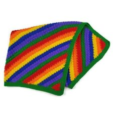 Rainbow Striped Afghan Blanket Handmade 29x30 Infant Baby Nursery Throw Lap