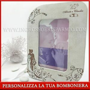 Picture Frame IN Eco-Leather With Spouses And 25° Wedding Favors Etched Wedding'