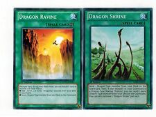 Dragon Ravine SDDL -en021 +  Dragon Shrine  SDBE-en019 Set 1st Mint YUGIOH