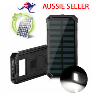 Solar Power Bank Portable Charger Dual USB 2.4A Fast Charge Waterproof