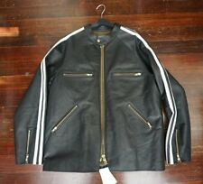 NWT BLACKMEANS LARGE 6 XL SHEARLING FAUX LINED LEATHER CAFE RACER JACKET BLACK