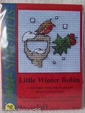 MOUSELOFT STITCHLETS CROSS STITCH KIT ~ LITTLE WINTER ROBIN ~ CHRISTMAS ~ NEW