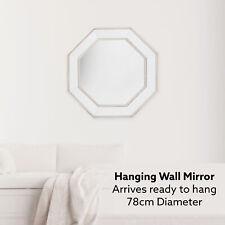 Large 78cm Octagon Wall Mirror Silver Modern Home Decor Bedroom Bathroom