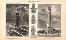 Leuchtturm Leuchttürme LeuchtfeuerBlinkfeuer Swinemünde Eddystone HOLZSTICH 1894