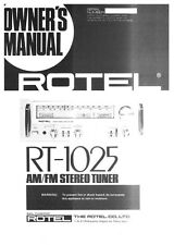 Rotel RT-1025 Tuner Owners Instruction Manual