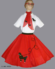 """7 PC RED 50's POODLE SKIRT OUTFIT ADULT MEDIUM WAIST 30""""-38"""" Length 25"""""""