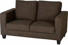 Two Seater Fabric Sofa in Modern Dark Brown - -4 Hour Delivery Timeslot
