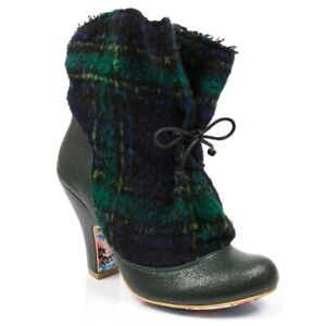 Irregular Choice Marshmallow Mountain (U) Green Zip Up Ankle Boots Shoes
