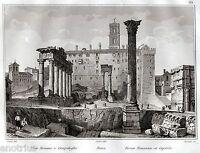 Roma: Foro Romano e Campidoglio. Audot. Steel engraving. + Passepartout. 1836