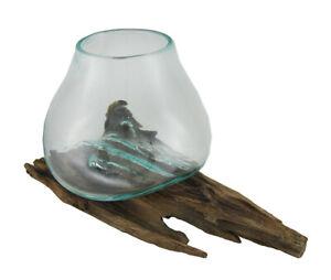 Zeckos Glass On Teak Driftwood Molten Sculptural Bowl/Plant Terrarium Vase