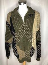 Tundra Men's Stitched Quarter Zip Pullover Sweater Olive Green Multicolour VTG