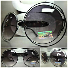 OVERSIZE EXAGGERATED Look VINTAGE RETRO Style SUN GLASSES Round Black Wire Frame