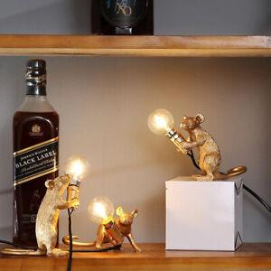 Rat Table Lamp Mouse Light Bedside Resin Lamp Home Office Desk Decor & UK PLUG
