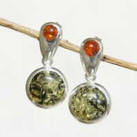 5.77g UNIQUE Natural Authentic  BALTIC AMBER 925 Sterling Silver Earrings