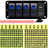 5 Gang Car Boat Marine Rocker Switch Panel Dual USB LED Circuit Breaker Voltage