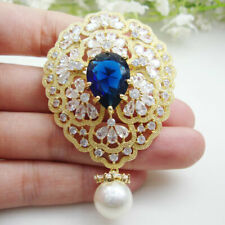 New Luxurious Flower Cluster Pearl Pendant Brooch Pin Clear Zircon Crystal
