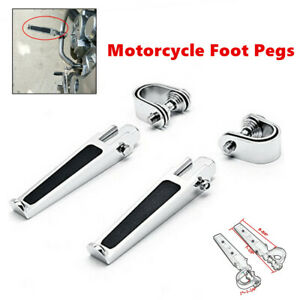 "Motorcycle 1-1/4""Highway Engine Guard Crash Bar U-clamp Foot Pegs Silver Folding"