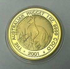 1 oz 2001 THE AUSTRALIAN KANGAROO NUGGET Coin Medallion 24K 999 GOLD FINISHED