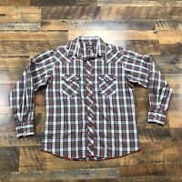 VTG Wrangler Cowboy Plaid Pearl Snap Men's Size Large Long Sleeve Western Shirt