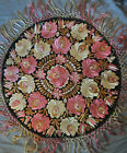 Antique Hungarian Hand Embroidered Silk MATYO Round Table Cover 2ft w/fringe