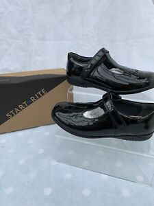 Startrite Poppy Black Patent Leather Girls School Shoes Size 11E