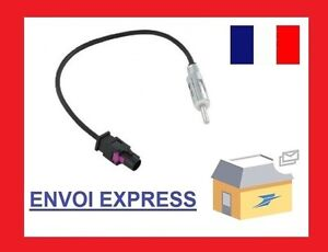 CABLE ADAPTATEUR FAKRA ISO POUR ANTENNE AUTORADIO renault, Vw, Bmw