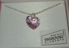 """Lavender Crystal Heart Necklace New 18"""" Silver Tone Chain Made with Swarovski"""