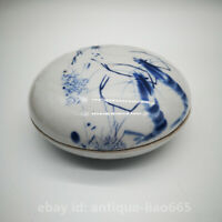 "4.3"" China Blue White Porcelain Animal Shrimp Round Rouge Powder Box Ink Box DF"