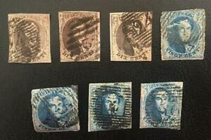 BELGIUM. GOOD CLASSIC UNCHECKED LOT OF 7 USED STAMPS FIRST ISSUES. LOOK!