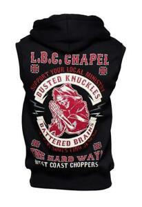 WCC West Coast Choppers Herren Men Hoodie Pullover Zip Chapel Sleeveless Black