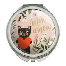 Mon Amour My Love French Cat Heart Compact Travel Purse Handbag Makeup Mirror