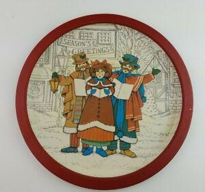 "Vintage Christmas Carolers 12"" Cookie Tin Plate Tray Wang's International 1989"