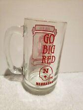 Nebraska Cornhuskers Glass Mug Vintage Go Big Red